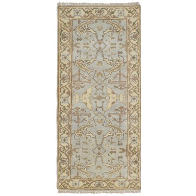 One-of-a-Kind Li Hand Knotted Runner Wool Light Blue Area Rug