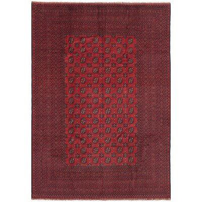 Bridges Traditional Hand Knotted Rectangle Wool Red Fringe Area Rug