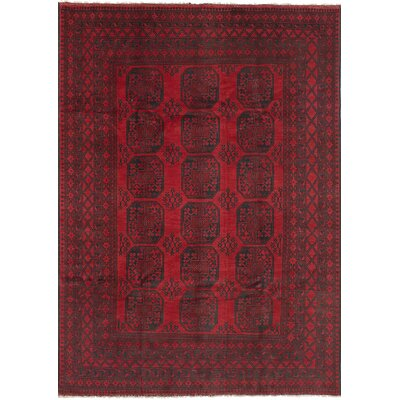 Bridges Traditional Geometric Hand Knotted Wool Red Fringe Area Rug