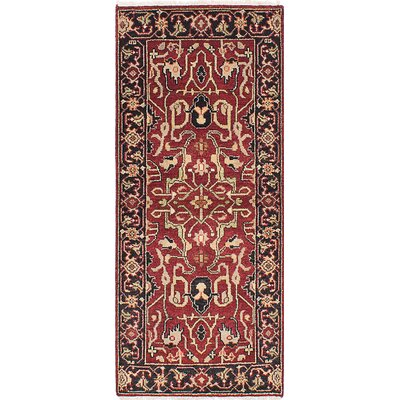 One-of-a-Kind Briggs Hand Knotted Wool Dark Red Fringe Area Rug