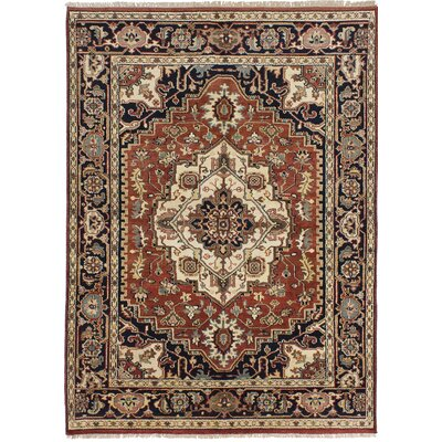 Briggs Floral Hand Knotted Wool Dark Copper Fringe Area Rug