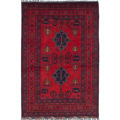 Rosales Tribal Hand Knotted Wool Red Indoor Area Rug
