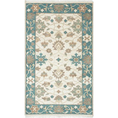 One-of-a-Kind Li Hand Knotted Wool Cream/Turquoise Area Rug