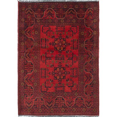 Rosales Hand Knotted Rectangle Wool Red Area Rug