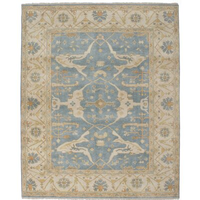 One-of-a-Kind Li Hand Knotted Wool Slate Blue Area Rug