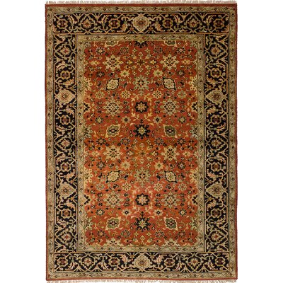 One-of-a-Kind Briggs Traditional Geometric Hand Knotted Rectangle Wool Dark Copper Area Rug