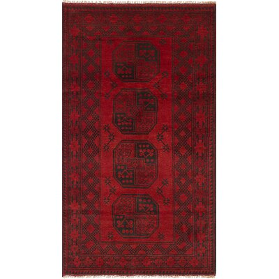 One-of-a-Kind Bridges Geometric Hand Knotted Rectangle Wool Red Area Rug