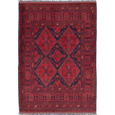 One-of-a-Kind Rosales Hand Knotted Rectangular Wool Red Indoor Area Rug