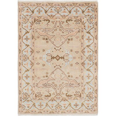 One-of-a-Kind Li Hand Knotted Rectangle Wool Light Khaki Area Rug