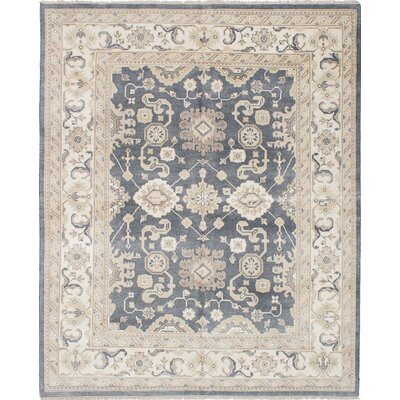 One-of-a-Kind Li Hand Knotted Wool Cream/Dark Gray Area Rug