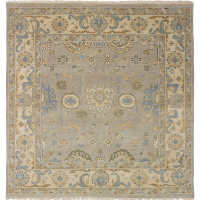 One-of-a-Kind Li Hand Knotted Square Wool Light Gray Area Rug