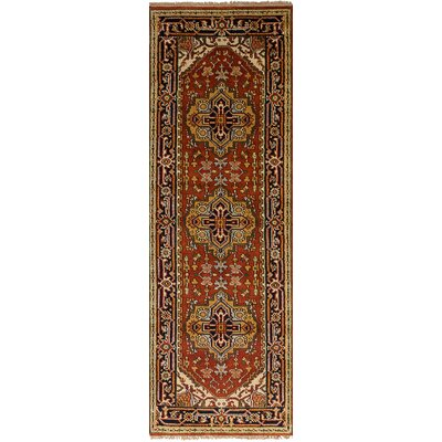 One-of-a-Kind Briggs Hand Knotted Runner Wool Dark Copper Fringe Area Rug