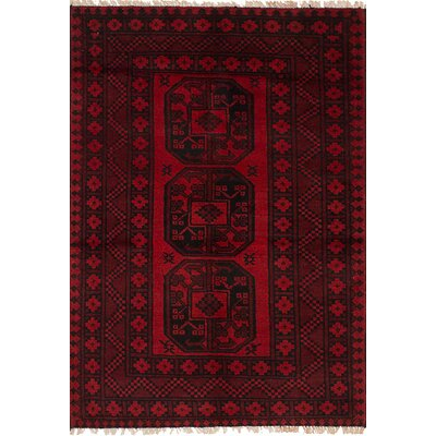Bridges Hand Knotted Wool Red Fringe Area Rug