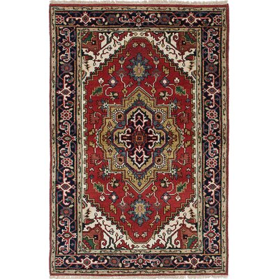 Briggs Traditional Floral Hand Knotted Rectangle Wool Dark Copper Area Rug