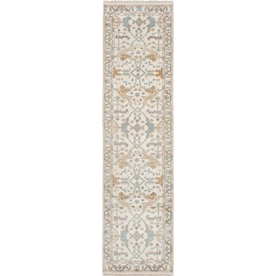 Li Traditional Hand Knotted Wool Cream/Slate Blue Area Rug