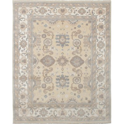 One-of-a-Kind Li Hand Knotted Wool Light Gold Area Rug