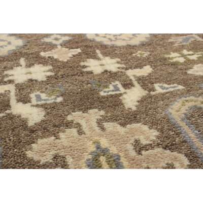Li Hand Knotted Wool Brown/Light Yellow Area Rug