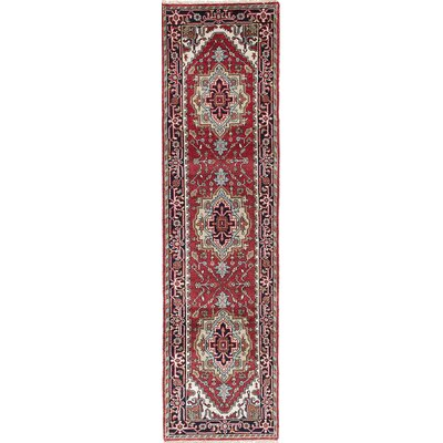 Briggs Geometric Hand Knotted Wool Dark Red Area Rug
