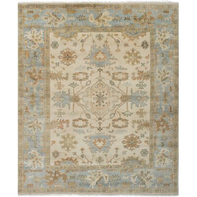 Li Hand Knotted Wool Cream/Sky Blue Area Rug