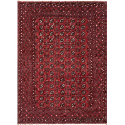 One-of-a-Kind Bridges Traditional Hand Knotted Wool Red Border Area Rug