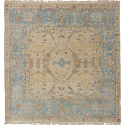 One-of-a-Kind Li Hand Knotted Square Wool Light Khaki Area Rug
