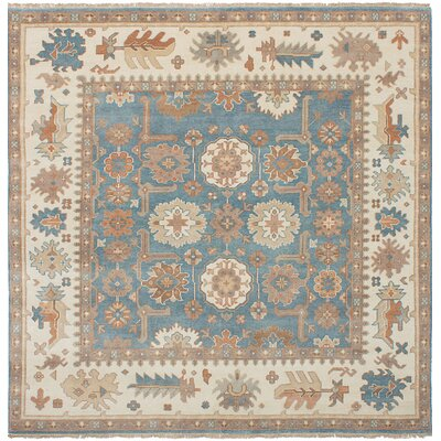Li Hand Knotted Wool Sky Blue Area Rug
