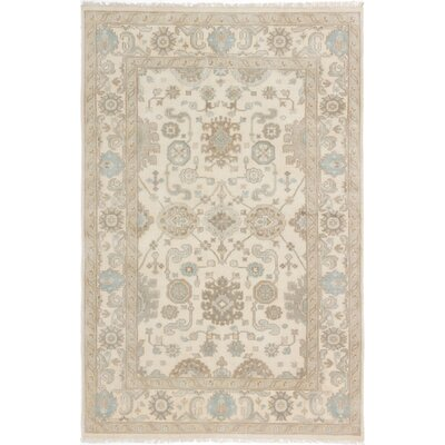 One-of-a-Kind Li Hand Knotted Rectangle Wool Cream Area Rug