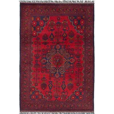 One-of-a-Kind Rosales Traditional Hand Knotted Rectangular Wool Red Area Rug
