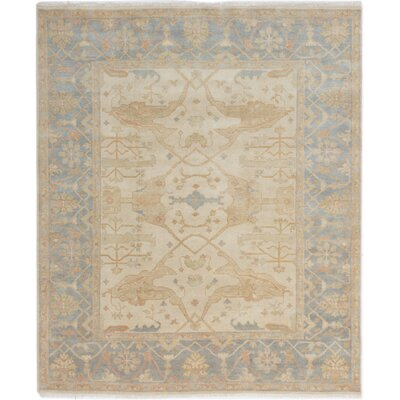 One-of-a-Kind Li Floral and Plants Hand Knotted Rectangle Wool Cream Area Rug