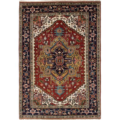 Briggs Hand Knotted Wool Dark Burgundy/Navy Blue Area Rug