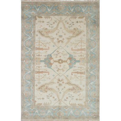 One-of-a-Kind Li Hand Knotted Wool Baby Blue/Cream Area Rug