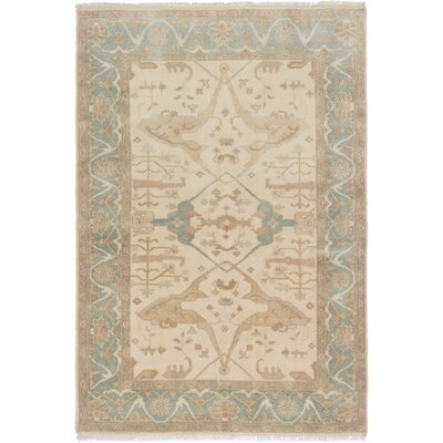 One-of-a-Kind Li Hand Knotted 100% Wool Cream Area Rug