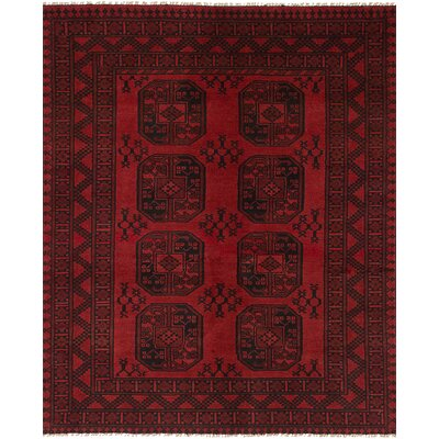 Bridges Hand Knotted Rectangle Wool Red Fringe Area Rug