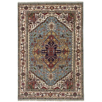Briggs Hand Knotted Rectangle Wool Light Blue Area Rug