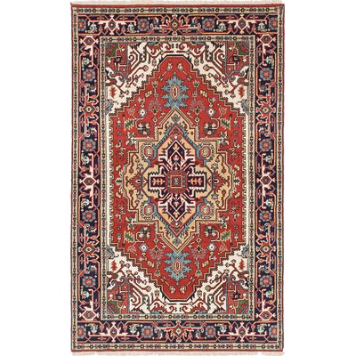 Briggs Geometric Hand Knotted Wool Dark Copper Fringe Area Rug