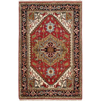 One-of-a-Kind Briggs Geometric Hand Knotted Rectangle 100% Wool Red Area Rug