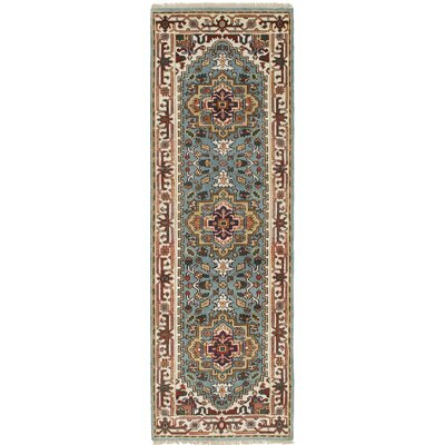 Briggs Geometric Hand Knotted Wool Light Blue Area Rug