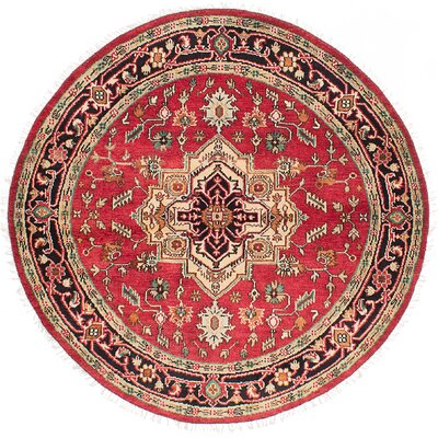 Briggs Hand Knotted Round Wool Red Area Rug