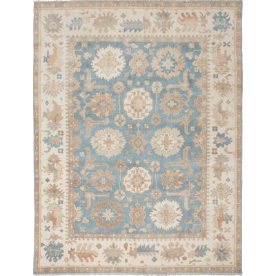 Li Hand Knotted Rectangle Wool Light Denim Blue Area Rug