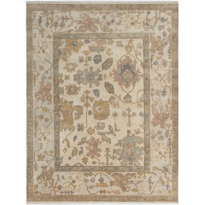 One-of-a-Kind Li Floral and Plants Hand Knotted 100% Wool Cream Area Rug