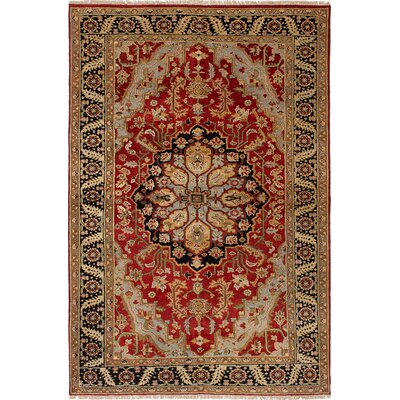 Briggs Geometric Hand Knotted 100% Wool Red Area Rug
