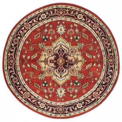 Briggs Hand Knotted Round Wool Dark Copper Area Rug