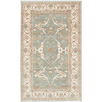 One-of-a-Kind Li Hand Knotted Wool Light Turquoise Area Rug