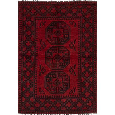 One-of-a-Kind Bridges Geometric Hand Knotted Wool Red Border Area Rug Rug Size: 33 x 410