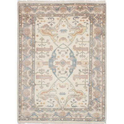 Li Traditional Hand Knotted Rectangle Wool Cream Area Rug