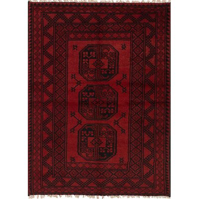 Bridges Geometric Hand Knotted Wool Red Area Rug