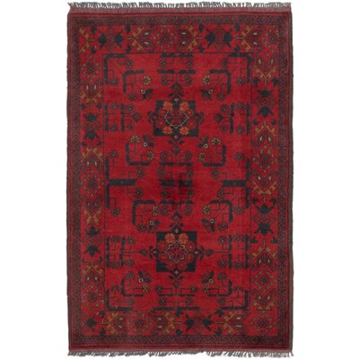 Rosales Geometric Hand Knotted Wool Red Indoor Area Rug
