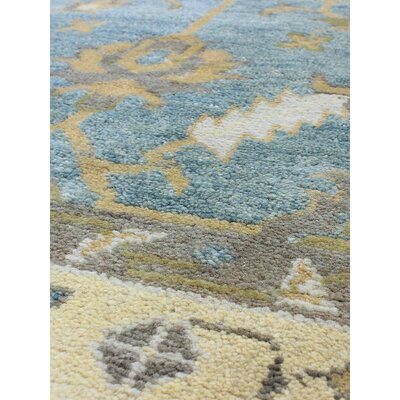 One-of-a-Kind Li Hand Knotted Wool Medium Weak Cyan Area Rug