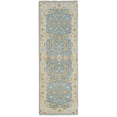 Li Hand Knotted Wool Turquoise Area Rug