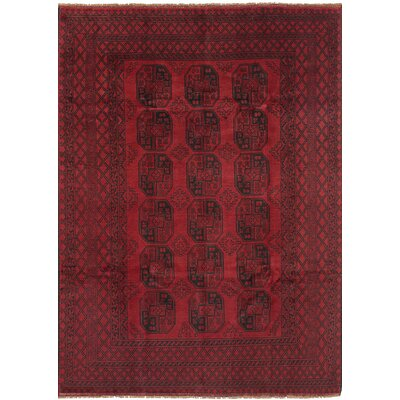 One-of-a-Kind Bridges Traditional Geometric Hand Knotted Wool Red Area Rug